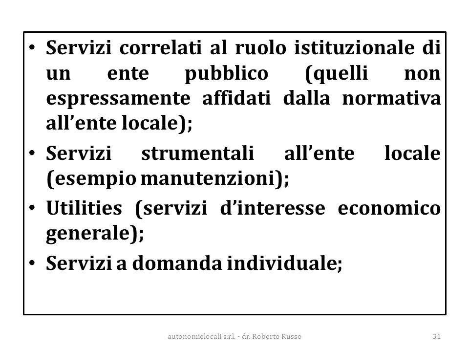 Servizi correlati al ruolo istituzionale di un ente pubblico (quelli non espressamente affidati dalla normativa all'ente locale); Servizi strumentali