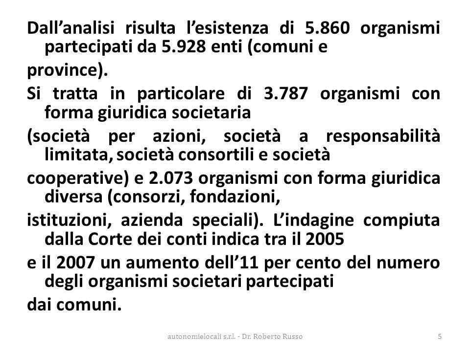 Dall'analisi risulta l'esistenza di 5.860 organismi partecipati da 5.928 enti (comuni e province). Si tratta in particolare di 3.787 organismi con for