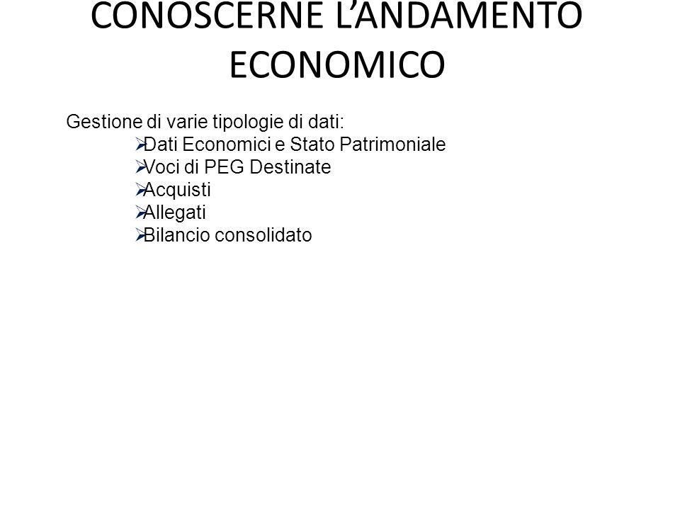 CONOSCERNE L'ANDAMENTO ECONOMICO Gestione di varie tipologie di dati:  Dati Economici e Stato Patrimoniale  Voci di PEG Destinate  Acquisti  Alleg