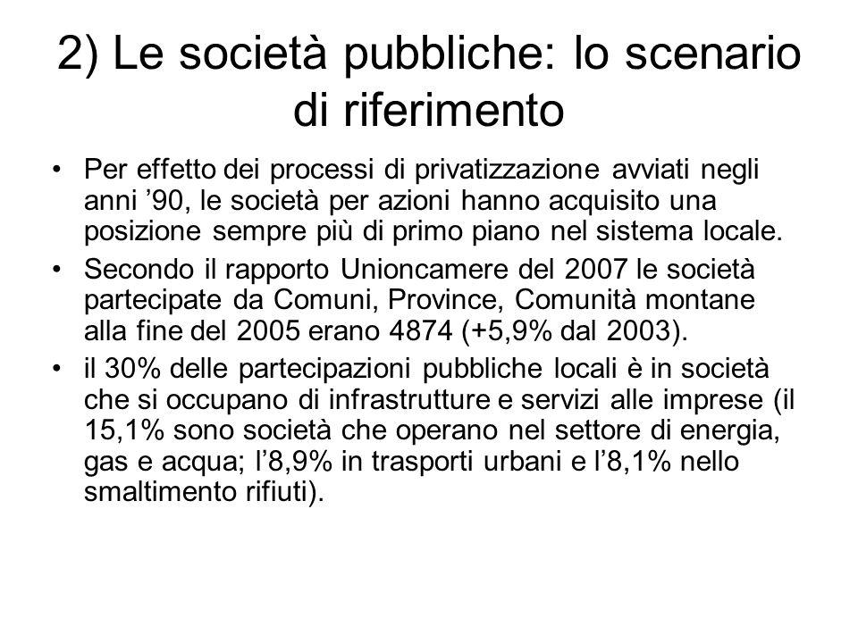 2) Le società pubbliche: lo scenario di riferimento Per effetto dei processi di privatizzazione avviati negli anni '90, le società per azioni hanno acquisito una posizione sempre più di primo piano nel sistema locale.