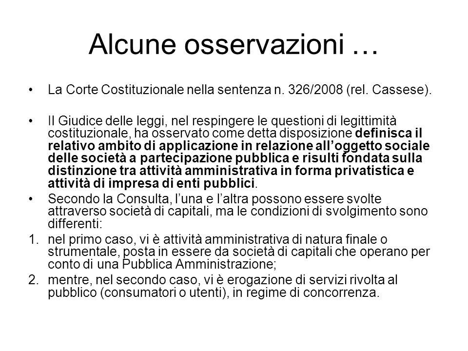 Alcune osservazioni … La Corte Costituzionale nella sentenza n.