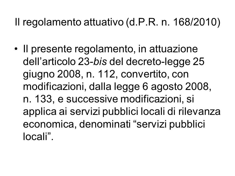 Il regolamento attuativo (d.P.R.n.