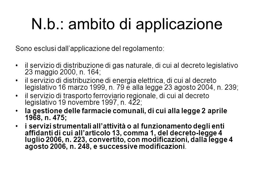 N.b.: ambito di applicazione Sono esclusi dall'applicazione del regolamento: il servizio di distribuzione di gas naturale, di cui al decreto legislativo 23 maggio 2000, n.