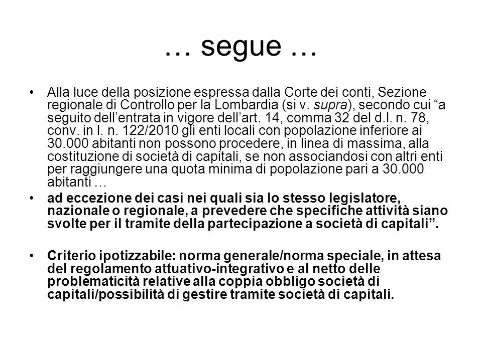 … segue … Alla luce della posizione espressa dalla Corte dei conti, Sezione regionale di Controllo per la Lombardia (si v.
