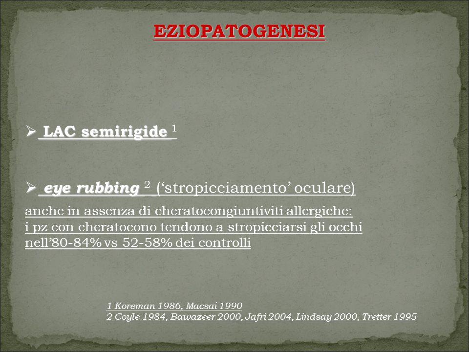  LAC semirigide  LAC semirigide 1  eye rubbing  eye rubbing 2 ('stropicciamento' oculare) anche in assenza di cheratocongiuntiviti allergiche: i pz con cheratocono tendono a stropicciarsi gli occhi nell'80-84% vs 52-58% dei controlli EZIOPATOGENESI 1 Koreman 1986, Macsai 1990 2 Coyle 1984, Bawazeer 2000, Jafri 2004, Lindsay 2000, Tretter 1995