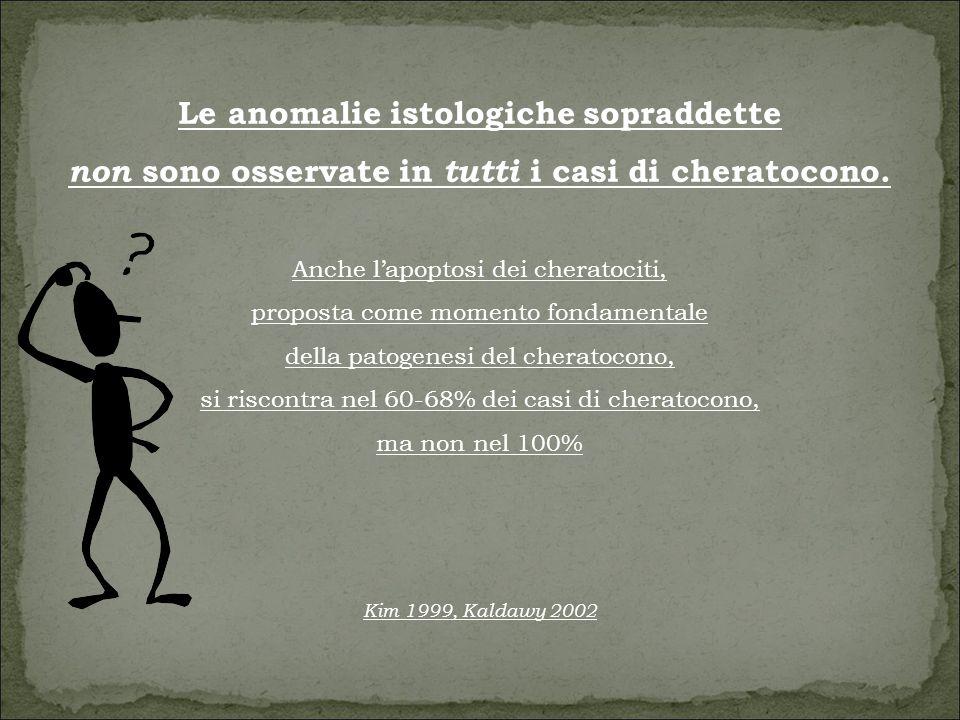 Le anomalie istologiche sopraddette non sono osservate in tutti i casi di cheratocono.