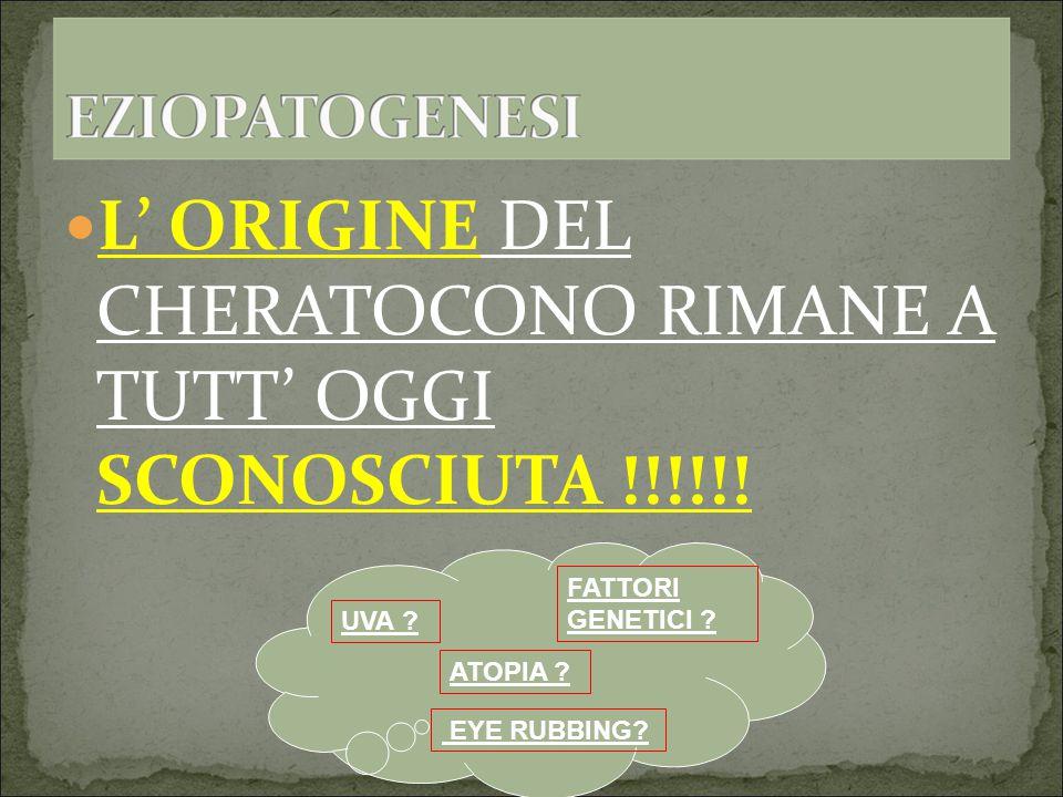 L' ORIGINE DEL CHERATOCONO RIMANE A TUTT' OGGI SCONOSCIUTA !!!!!.