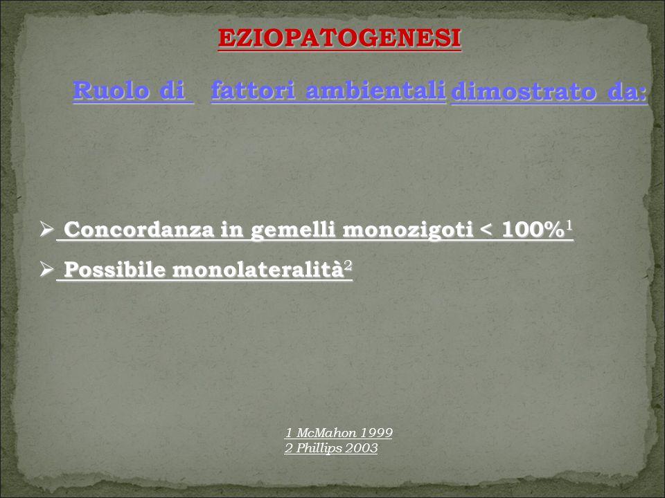 EZIOPATOGENESI  Concordanza in gemelli monozigoti < 100% 1  Possibile monolateralità 2 fattori ambientali Ruolo di dimostrato da: 1 McMahon 1999 2 Phillips 2003