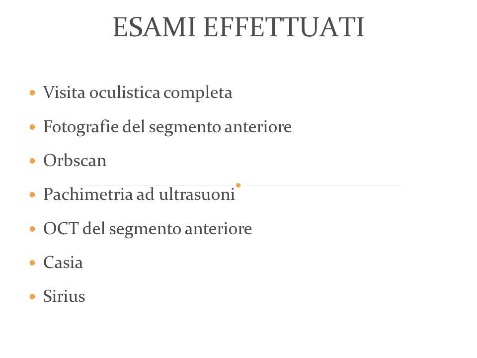 Visita oculistica completa Fotografie del segmento anteriore Orbscan Pachimetria ad ultrasuoni OCT del segmento anteriore Casia Sirius ESAMI EFFETTUAT