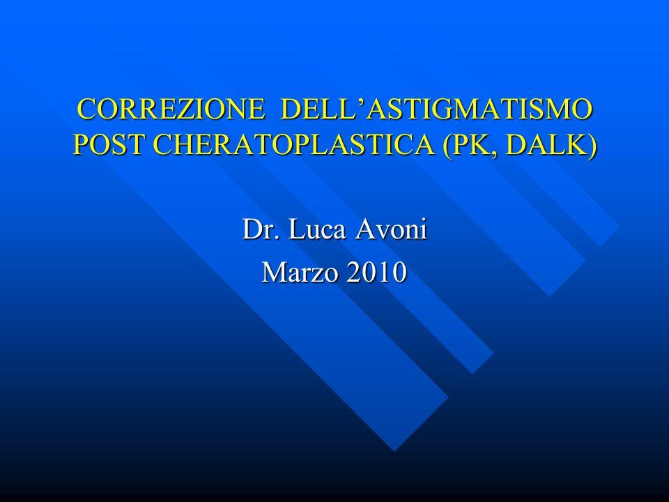 CORREZIONE DELL'ASTIGMATISMO POST CHERATOPLASTICA (PK, DALK) Dr. Luca Avoni Marzo 2010