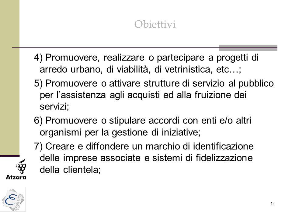 12 Obiettivi 4) Promuovere, realizzare o partecipare a progetti di arredo urbano, di viabilità, di vetrinistica, etc…; 5) Promuovere o attivare strutt