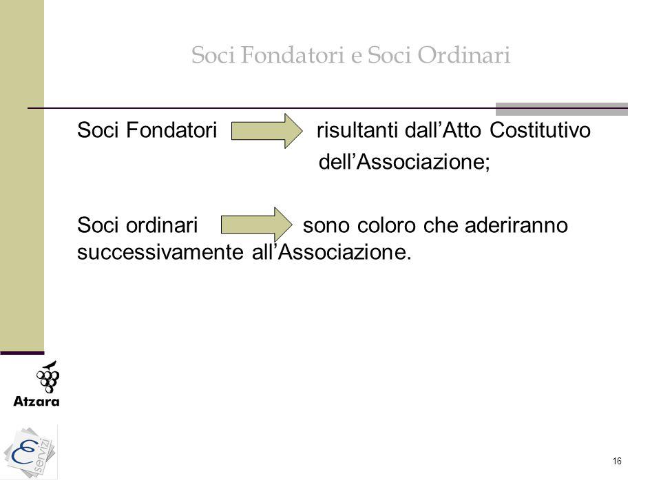 16 Soci Fondatori e Soci Ordinari Soci Fondatori risultanti dall'Atto Costitutivo dell'Associazione; Soci ordinari sono coloro che aderiranno successi