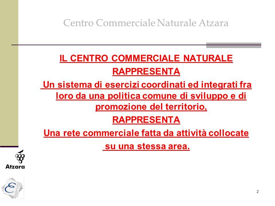 2 Centro Commerciale Naturale Atzara IL CENTRO COMMERCIALE NATURALE RAPPRESENTA Un sistema di esercizi coordinati ed integrati fra loro da una politic