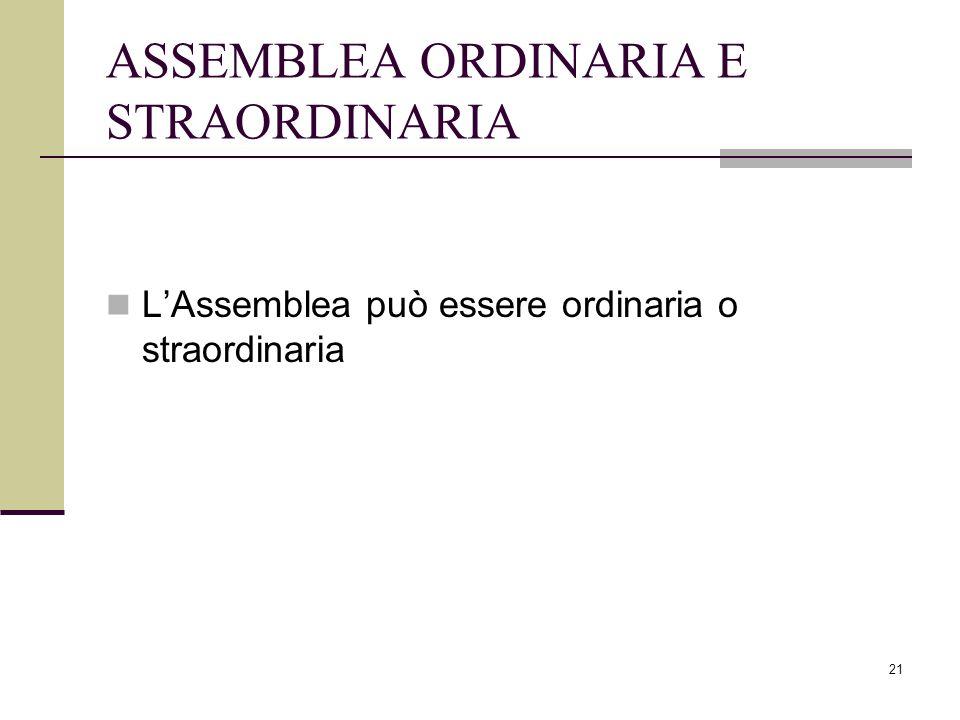 21 ASSEMBLEA ORDINARIA E STRAORDINARIA L'Assemblea può essere ordinaria o straordinaria