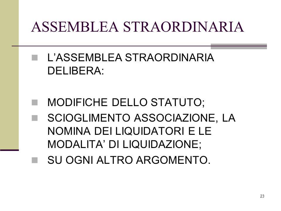 23 ASSEMBLEA STRAORDINARIA L'ASSEMBLEA STRAORDINARIA DELIBERA: MODIFICHE DELLO STATUTO; SCIOGLIMENTO ASSOCIAZIONE, LA NOMINA DEI LIQUIDATORI E LE MODA
