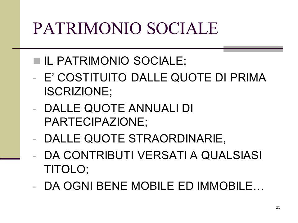 25 PATRIMONIO SOCIALE IL PATRIMONIO SOCIALE: - E' COSTITUITO DALLE QUOTE DI PRIMA ISCRIZIONE; - DALLE QUOTE ANNUALI DI PARTECIPAZIONE; - DALLE QUOTE S