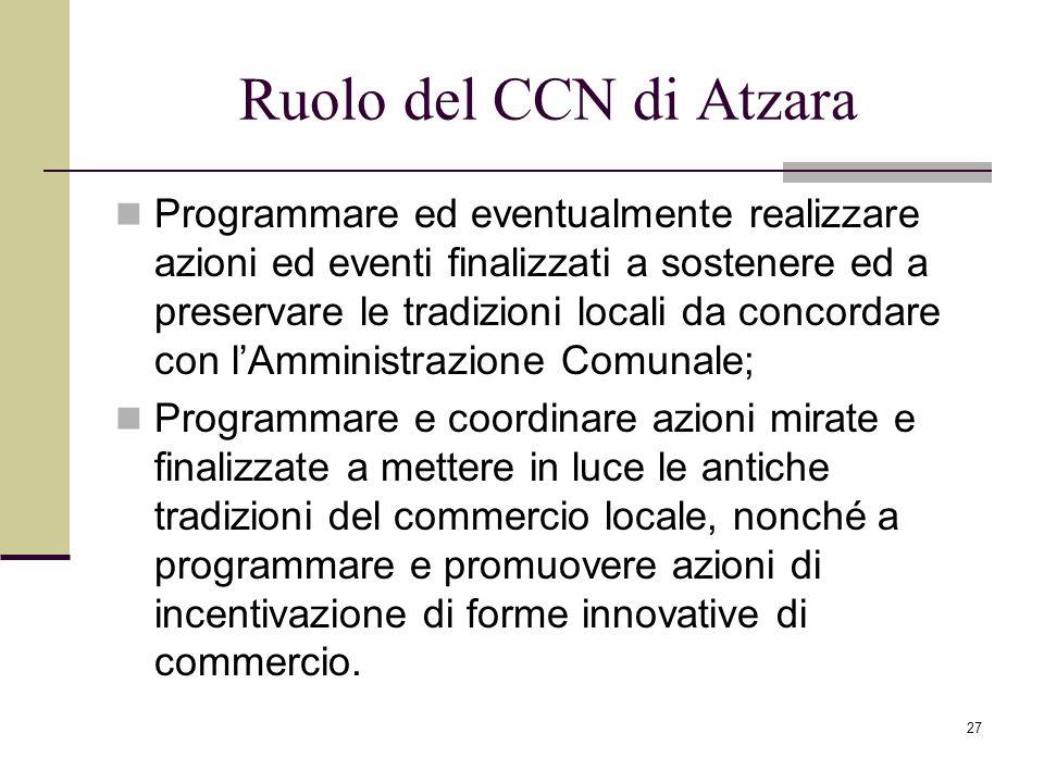 27 Ruolo del CCN di Atzara Programmare ed eventualmente realizzare azioni ed eventi finalizzati a sostenere ed a preservare le tradizioni locali da co