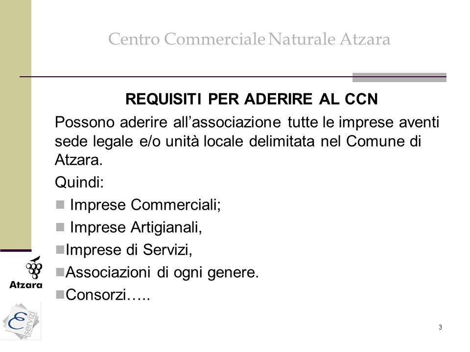 3 Centro Commerciale Naturale Atzara REQUISITI PER ADERIRE AL CCN Possono aderire all'associazione tutte le imprese aventi sede legale e/o unità local