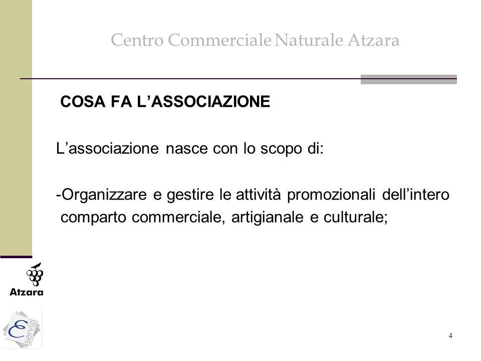 4 Centro Commerciale Naturale Atzara COSA FA L'ASSOCIAZIONE L'associazione nasce con lo scopo di: -Organizzare e gestire le attività promozionali dell