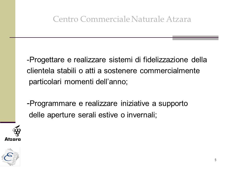 5 Centro Commerciale Naturale Atzara -Progettare e realizzare sistemi di fidelizzazione della clientela stabili o atti a sostenere commercialmente par