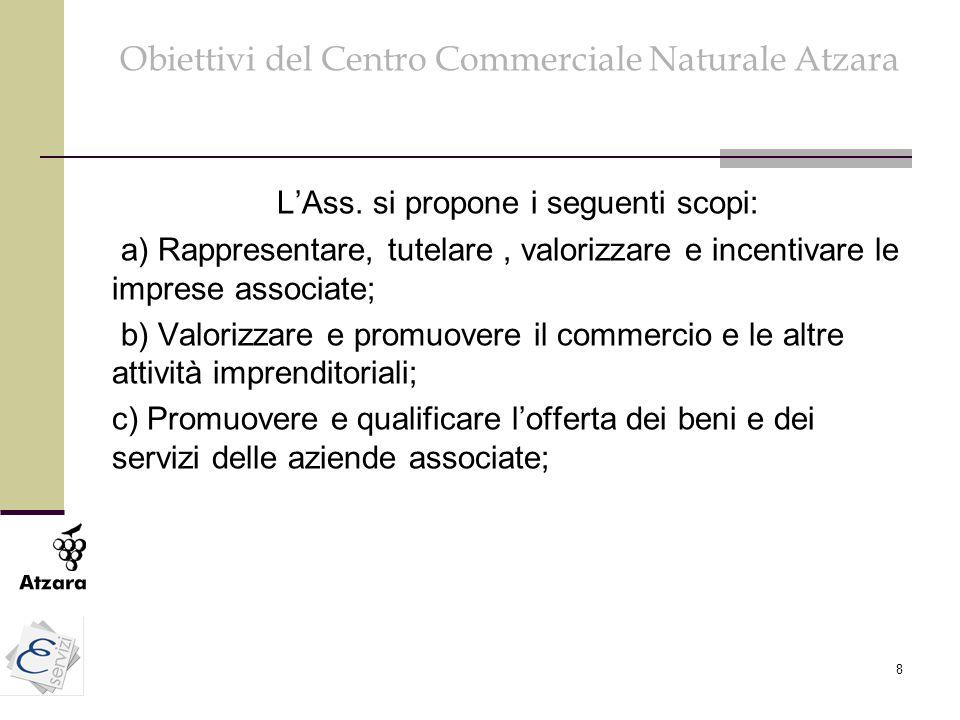 8 Obiettivi del Centro Commerciale Naturale Atzara L'Ass. si propone i seguenti scopi: a) Rappresentare, tutelare, valorizzare e incentivare le impres