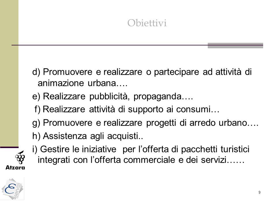 9 Obiettivi d) Promuovere e realizzare o partecipare ad attività di animazione urbana…. e) Realizzare pubblicità, propaganda…. f) Realizzare attività