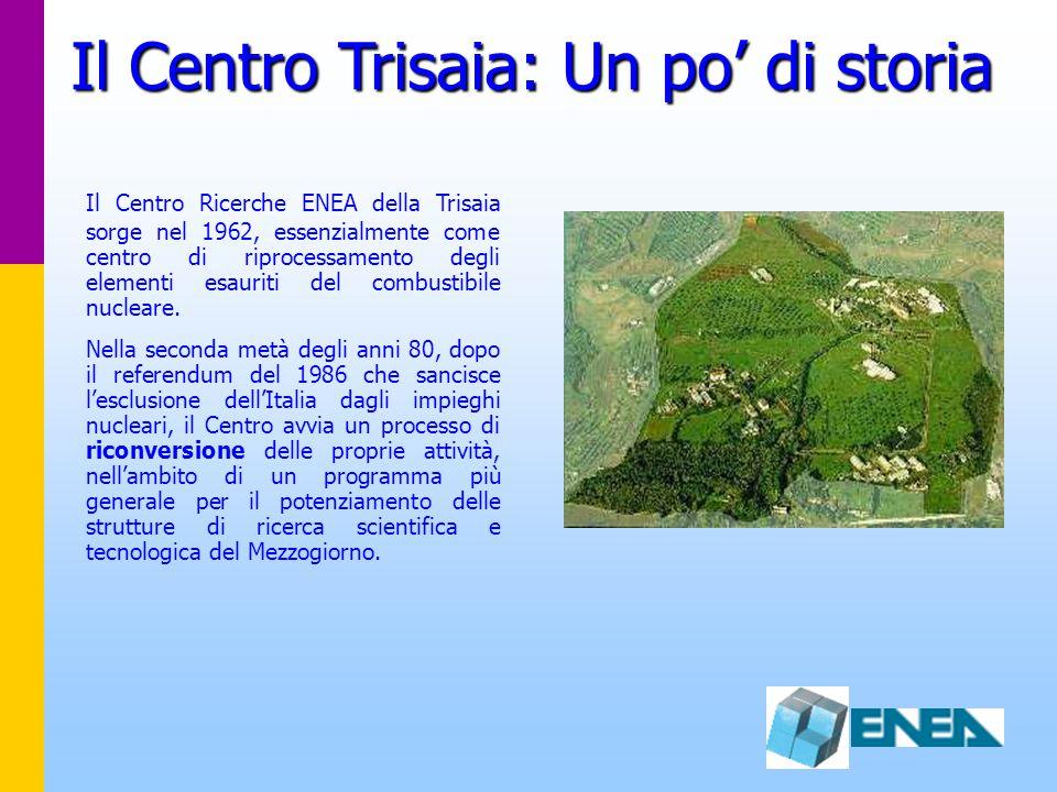 Il Centro Trisaia: Un po' di storia Il Centro Ricerche ENEA della Trisaia sorge nel 1962, essenzialmente come centro di riprocessamento degli elementi