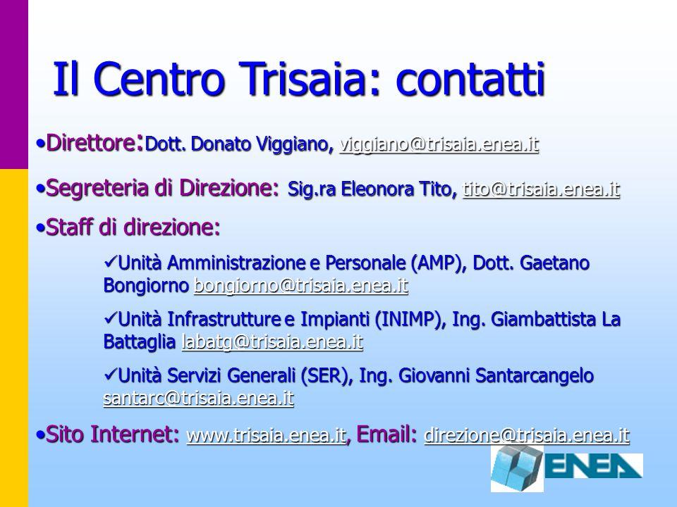 Direttore : Dott. Donato Viggiano, viggiano@trisaia.enea.itDirettore : Dott. Donato Viggiano, viggiano@trisaia.enea.itviggiano@trisaia.enea.it Segrete