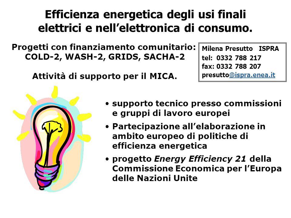 supporto tecnico presso commissioni e gruppi di lavoro europei Partecipazione all'elaborazione in ambito europeo di politiche di efficienza energetica progetto Energy Efficiency 21 della Commissione Economica per l'Europa delle Nazioni Unite Milena Presutto ISPRA tel: 0332 788 217 fax: 0332 788 207 presutto@ispra.enea.it@ispra.enea.it Efficienza energetica degli usi finali elettrici e nell'elettronica di consumo.