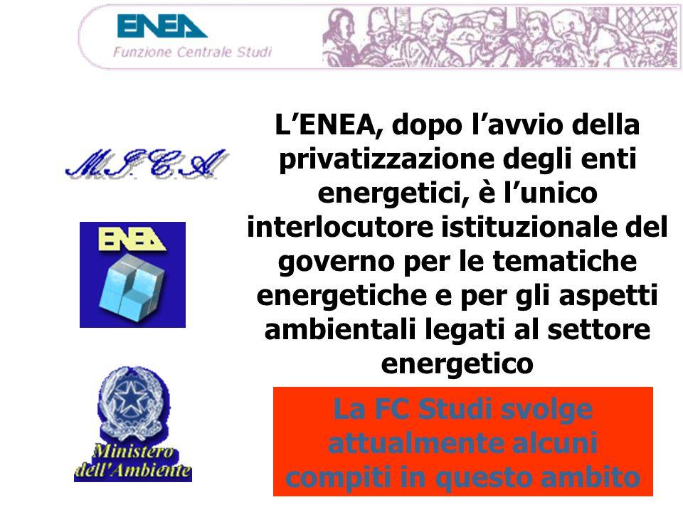 L'ENEA, dopo l'avvio della privatizzazione degli enti energetici, è l'unico interlocutore istituzionale del governo per le tematiche energetiche e per gli aspetti ambientali legati al settore energetico La FC Studi svolge attualmente alcuni compiti in questo ambito