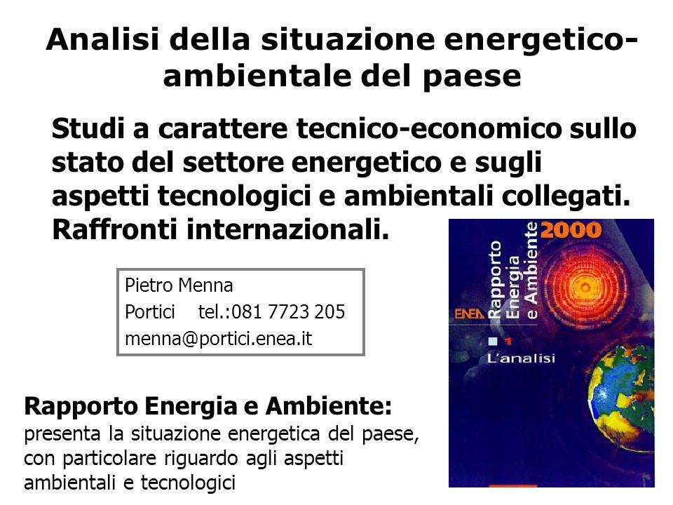 Analisi della situazione energetico- ambientale del paese Pietro Menna Portici tel.:081 7723 205 menna@portici.enea.it Studi a carattere tecnico-economico sullo stato del settore energetico e sugli aspetti tecnologici e ambientali collegati.