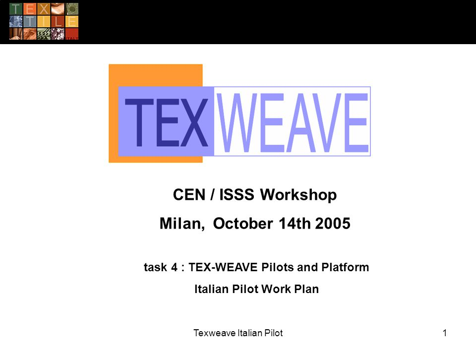 Texweave Italian Pilot1 task 4 : TEX-WEAVE Pilots and Platform Italian Pilot Work Plan CEN / ISSS Workshop Milan, October 14th 2005