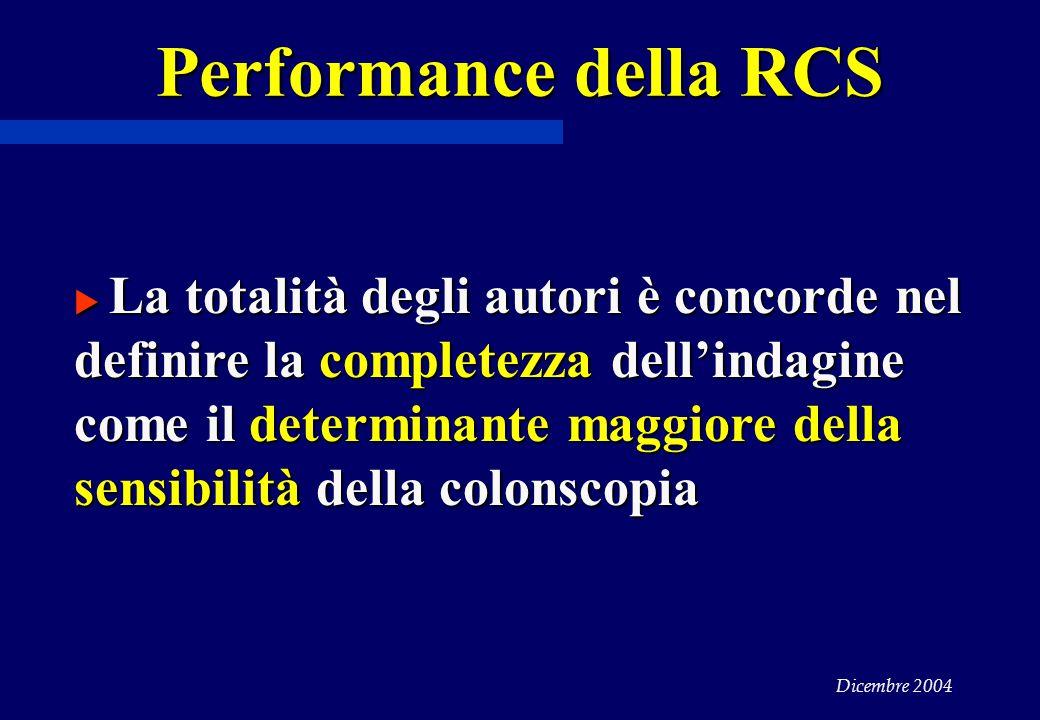 Dicembre 2004 Performance della RCS  La totalità degli autori è concorde nel definire la completezza dell'indagine come il determinante maggiore della sensibilità della colonscopia