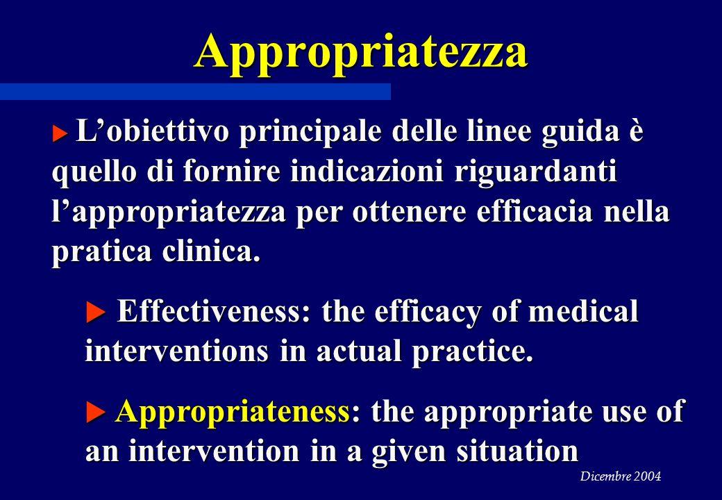 Dicembre 2004 Appropriatezza  L'obiettivo principale delle linee guida è quello di fornire indicazioni riguardanti l'appropriatezza per ottenere efficacia nella pratica clinica.