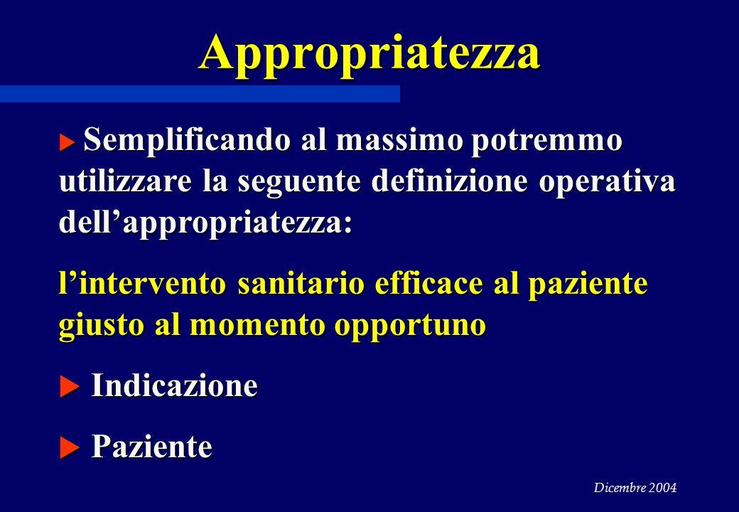 Dicembre 2004 Appropriatezza  Semplificando al massimo potremmo utilizzare la seguente definizione operativa dell'appropriatezza: l'intervento sanitario efficace al paziente giusto al momento opportuno  Indicazione  Paziente