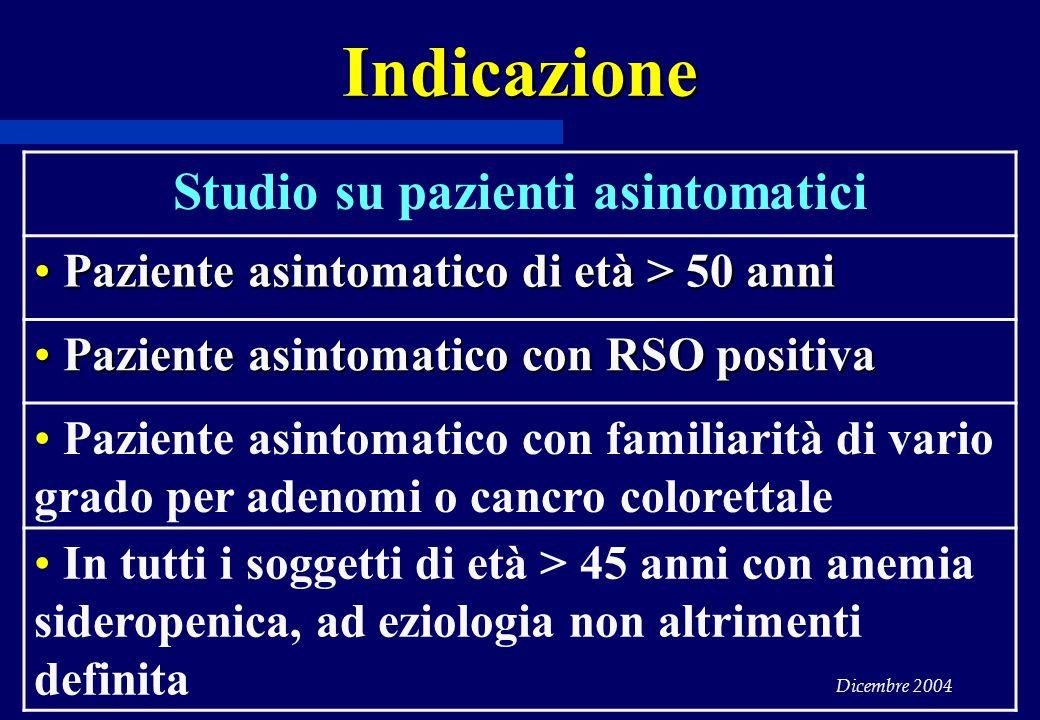 Dicembre 2004 Indicazione Studio su pazienti asintomatici Paziente asintomatico di età > 50 anni Paziente asintomatico di età > 50 anni Paziente asint
