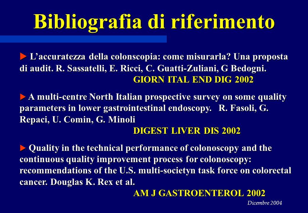 Dicembre 2004 Bibliografia di riferimento  L'accuratezza della colonscopia: come misurarla? Una proposta di audit. R. Sassatelli, E. Ricci, C. Guatti