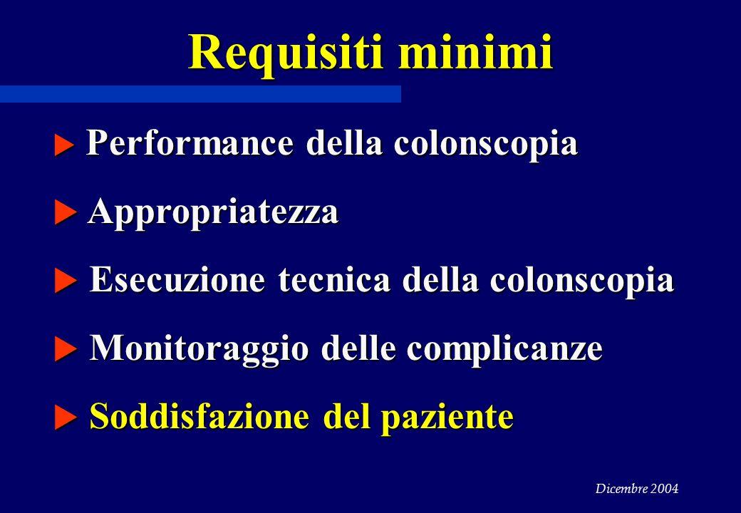 Dicembre 2004 Requisiti minimi  Performance della colonscopia  Appropriatezza  Esecuzione tecnica della colonscopia  Monitoraggio delle complicanze  Soddisfazione del paziente