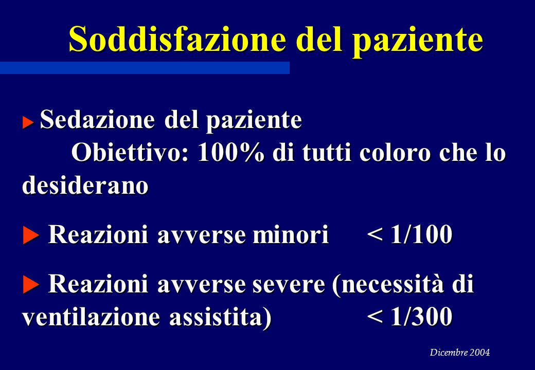 Dicembre 2004  Sedazione del paziente Obiettivo: 100% di tutti coloro che lo desiderano  Reazioni avverse minori < 1/100  Reazioni avverse severe (necessità di ventilazione assistita) < 1/300 Soddisfazione del paziente
