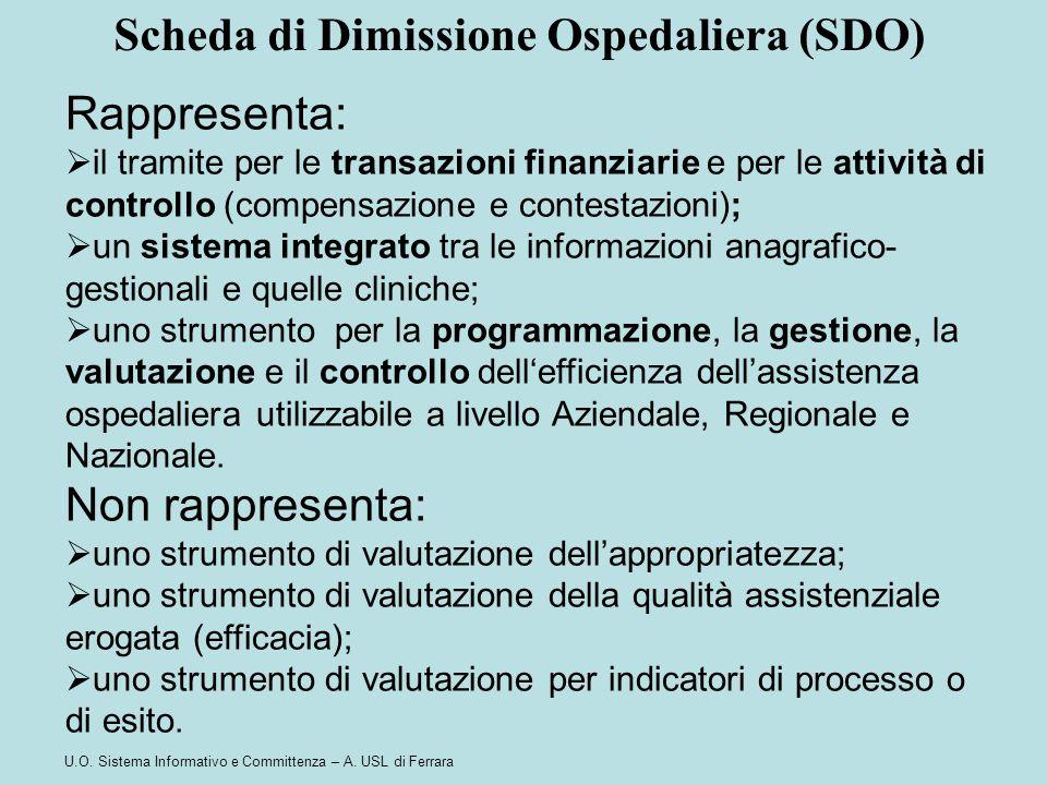 U.O. Sistema Informativo e Committenza – A. USL di Ferrara Rappresenta:  il tramite per le transazioni finanziarie e per le attività di controllo (co