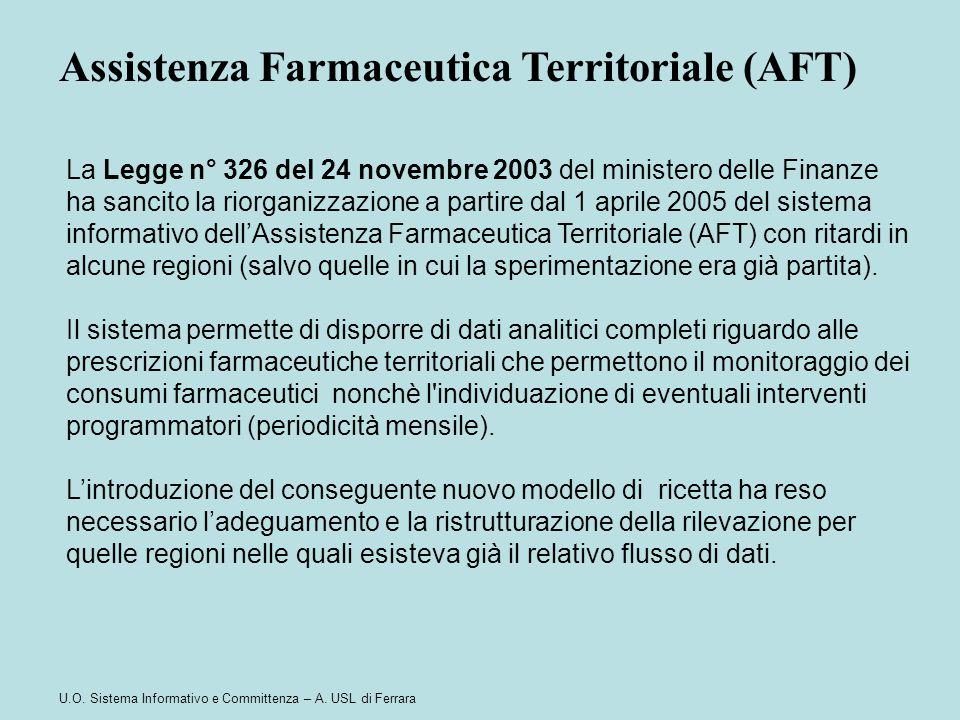 U.O. Sistema Informativo e Committenza – A. USL di Ferrara Assistenza Farmaceutica Territoriale (AFT) La Legge n° 326 del 24 novembre 2003 del ministe