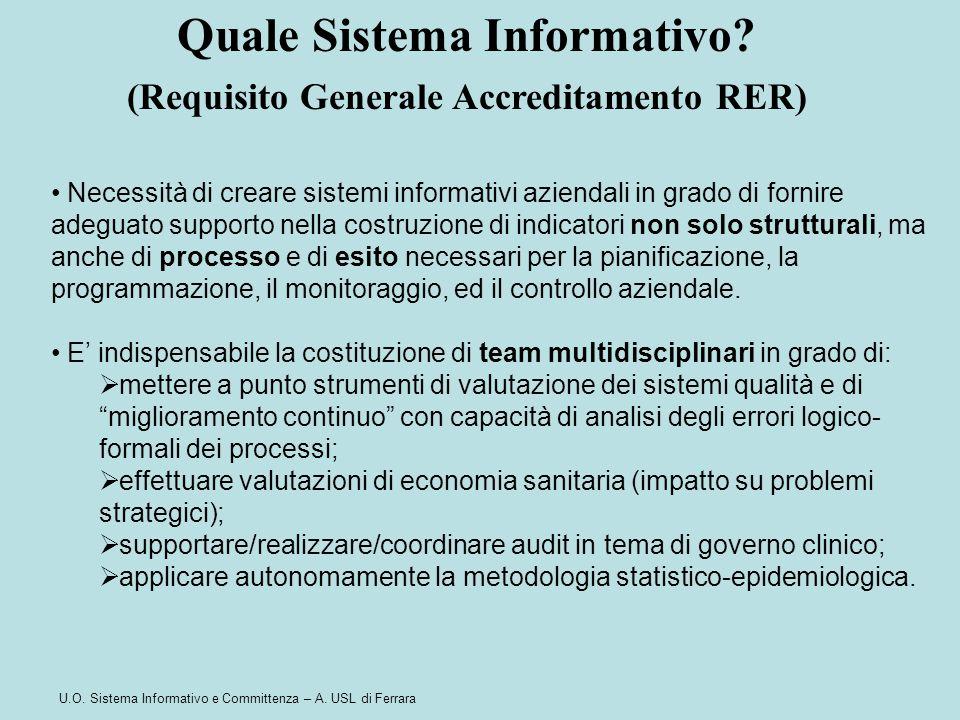 U.O. Sistema Informativo e Committenza – A. USL di Ferrara Necessità di creare sistemi informativi aziendali in grado di fornire adeguato supporto nel