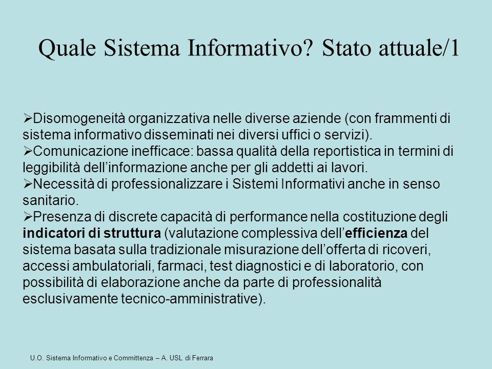 U.O. Sistema Informativo e Committenza – A. USL di Ferrara  Disomogeneità organizzativa nelle diverse aziende (con frammenti di sistema informativo d