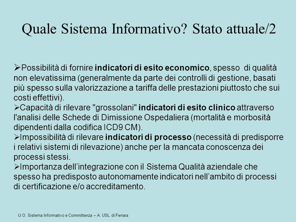 U.O. Sistema Informativo e Committenza – A. USL di Ferrara  Possibilità di fornire indicatori di esito economico, spesso di qualità non elevatissima