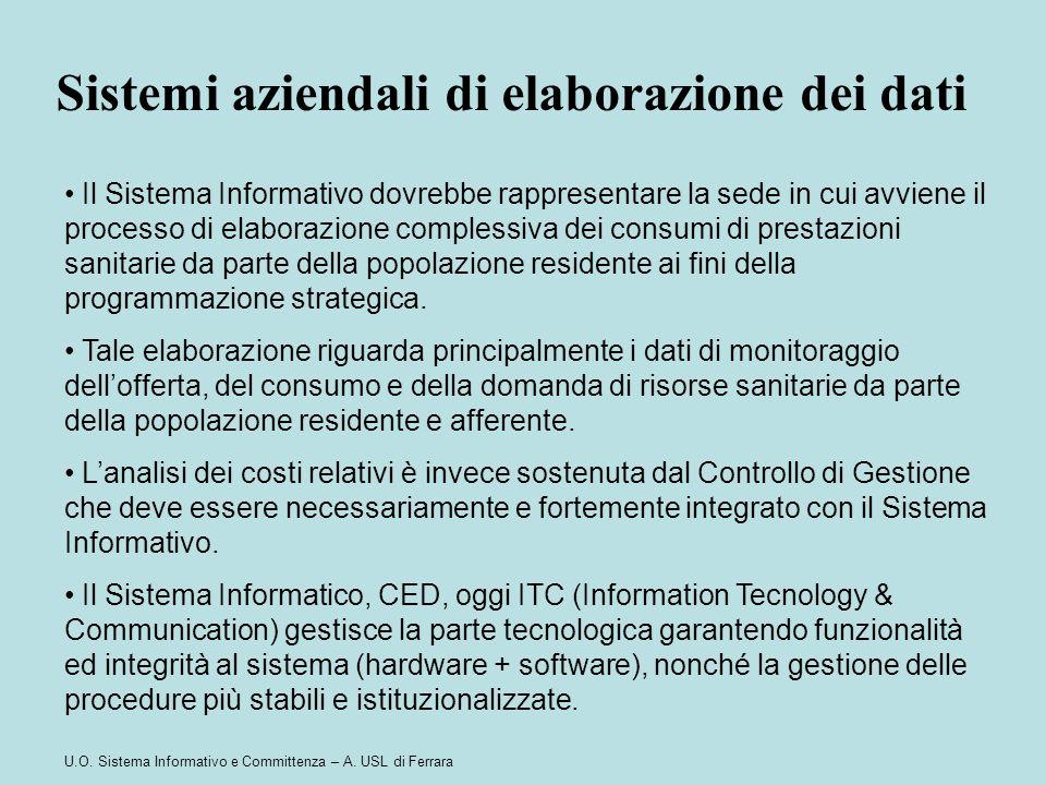 U.O. Sistema Informativo e Committenza – A. USL di Ferrara Il Sistema Informativo dovrebbe rappresentare la sede in cui avviene il processo di elabora