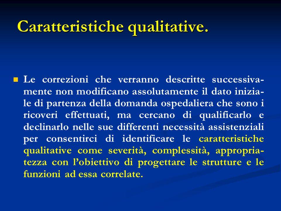Caratteristiche qualitative. Le correzioni che verranno descritte successiva- mente non modificano assolutamente il dato inizia- le di partenza della