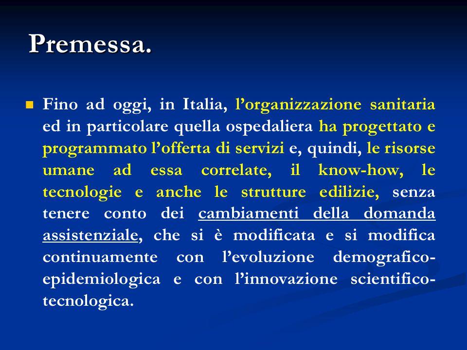 Premessa. Fino ad oggi, in Italia, l'organizzazione sanitaria ed in particolare quella ospedaliera ha progettato e programmato l'offerta di servizi e,