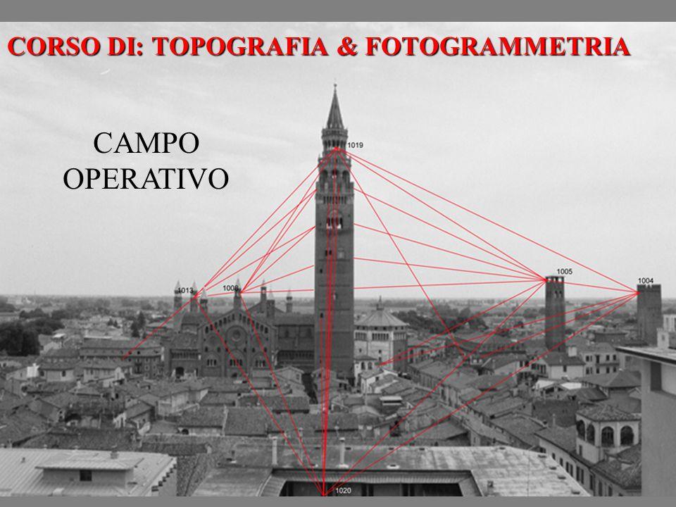 CORSO DI: TOPOGRAFIA & FOTOGRAMMETRIA CAMPO OPERATIVO