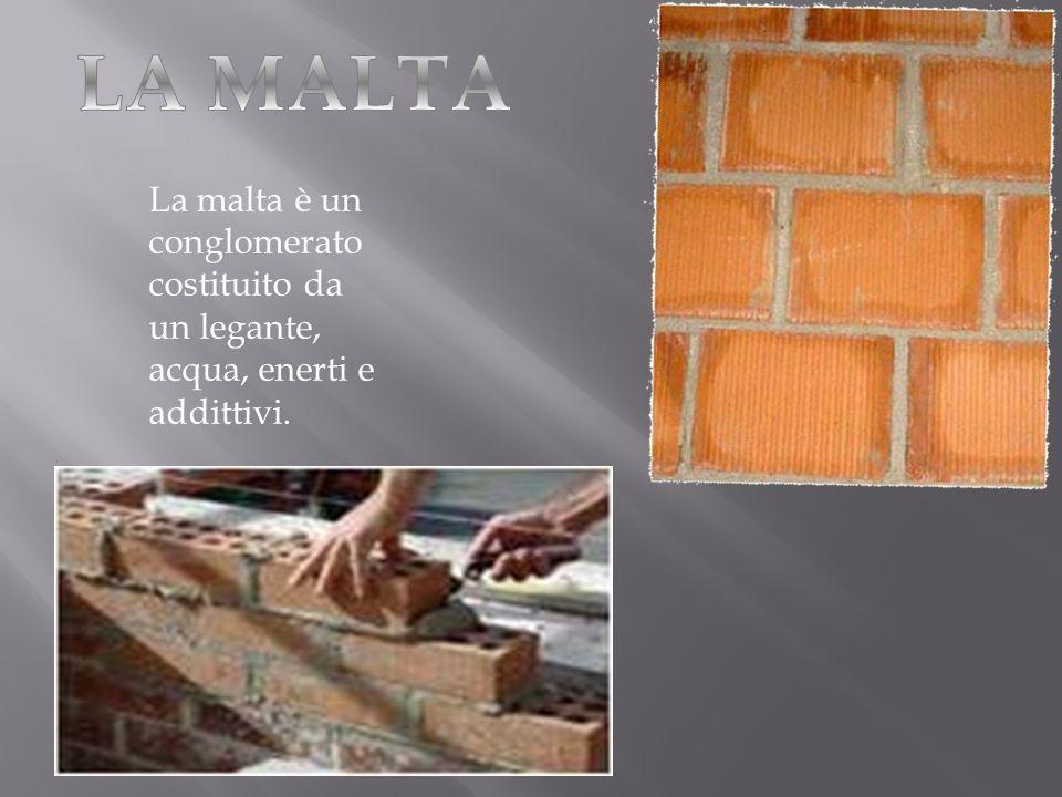 La malta è un conglomerato costituito da un legante, acqua, enerti e addittivi.