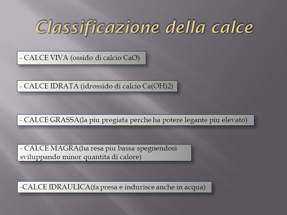 - CALCE VIVA (ossido di calcio CaO) - CALCE IDRATA (idrossido di calcio Ca(OH)2) - CALCE GRASSA(la piu pregiata perche ha potere legante piu elevato) - CALCE MAGRA(ha resa piu bassa spegnendosi sviluppando minor quantita di calore) -CALCE IDRAULICA(fa presa e indurisce anche in acqua)
